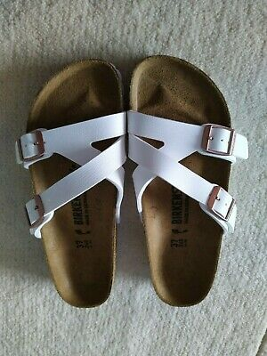 Birkenstock Yao Birko-flor White With Rose Gold Buckle Size 4/4.5  (37) • 40£