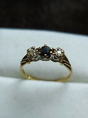 AU203.21 • Buy Sapphire And Diamond Ring 9ct Gold Size I