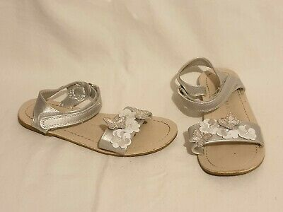 Girls Silver Flower Themed Sandals Shoes Size Uk 12 From Primark • 3.99£