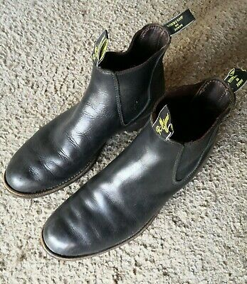 AU149 • Buy RM Williams Black Leather Mens Pull On Boots - Size 11 G - Australia Made