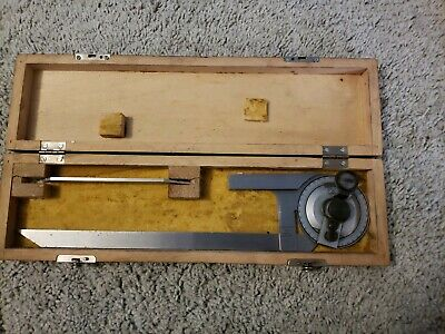$114 • Buy Vintage  VIS  Machinist Protractor Angle Finder Wood Box Poland 6  & 12   Beam