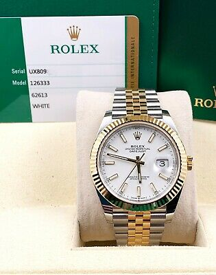 $ CDN17164.60 • Buy BRAND NEW Rolex 126333 Datejust 41 White 18K Yellow Gold Stainless Box Papers