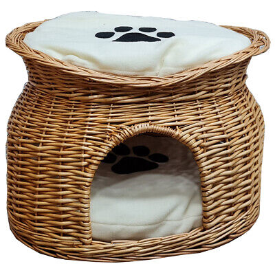 £34.95 • Buy Wicker Cat House Pet Bed Basket Kitten Tower Cozy Cave Cushions Honey UKES