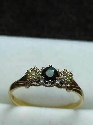 AU218.84 • Buy Sapphire And Diamond Ring 9ct Gold Size P 1/2...1.63 Grams