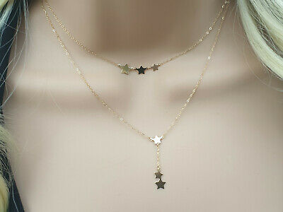 £72 • Buy Shiny 9Ct 9K Yellow Gold Dainty Star Necklace Diamond Cut Fine Trace Chain Gift