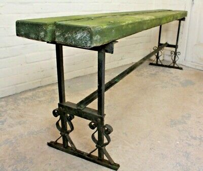 Reclaimed Pine & Wrought Iron Garden Bench Patio Seating Furniture (Delivery) • 225£