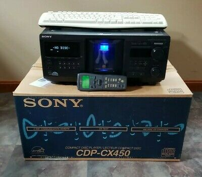 SONY CDP-CX450 400 CD Disc Player Jukebox W/ Oem Digital Remote, Box, New Belts • 327.39£