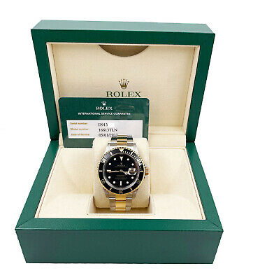 $ CDN14504.35 • Buy Rolex Submariner 16613 Black Dial 18K Gold Stainless Box Service Paper 2005