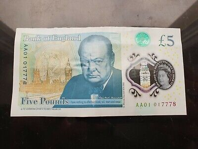 AA01 01 ! Early Polymer Five Pound £5 Note LOW SERIAL NUMBER AA0101 • 379£