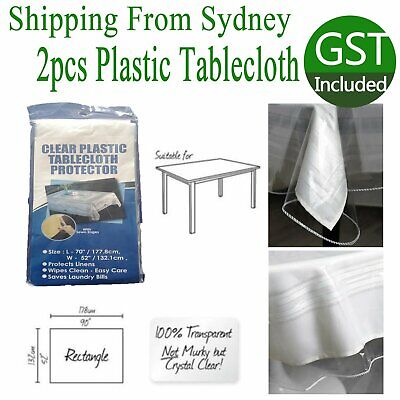 AU12.99 • Buy 2x Transparent Plastic Tablecloth Cover Protector PVC Dining Clear Picnic Table