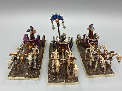 Warhammer Tomb Kings Death Ossiarch Bonereapers - 3 Chariots Painted Army TKA-20 • 50.70£