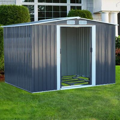 £479.95 • Buy Anthracite Heavy-Duty Metal Garden Shed Cabinet Large Outdoor Storage With Base