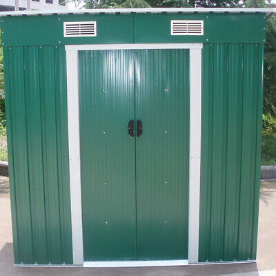 £219.95 • Buy 6 X 4FT Outdoor Storage Garden Shed House Tool Sheds Galvanised Metal Green+Base