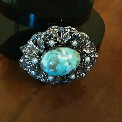Vtge Czech Silvertone Brooch With Turquoise Coloured Cabachon & Faux Pearls... • 2.50£