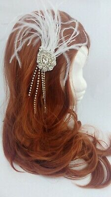 £9.99 • Buy 20s White Silver Feather Hair Accessory Wedding Vintage Flapper Gatsby Burlesque