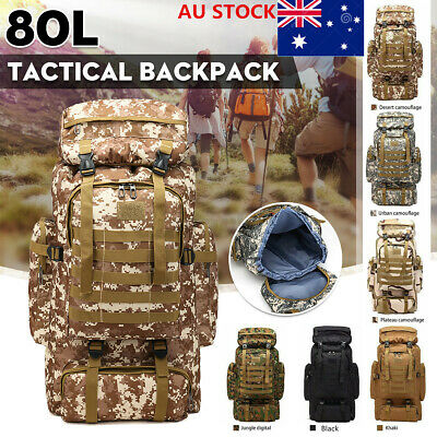 AU26.75 • Buy AU 80L Molle Tactical Military Rucksack Backpack Travel Army Camping Bag Outdoor