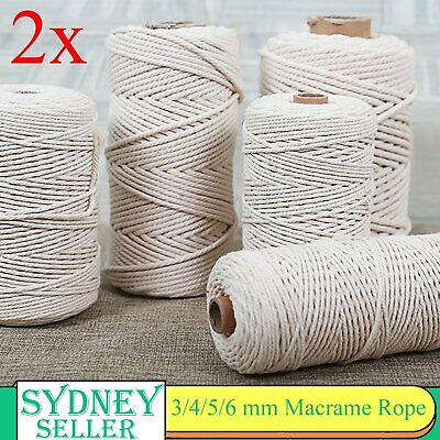 AU18.88 • Buy 2pcs 3/4/5/6mm Macrame Rope Natural Beige Cotton Twisted Cord Artisan Hand Craft