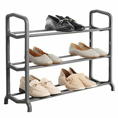 £10.95 • Buy 3 Tier Shoe Rack Grey Stackable Organiser For 9 -12 Pairs Shoes Space Saving