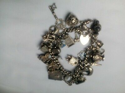 Vintage Silver Charm Bracelet Hallmarked 925 All Silver Been Tested 43charms  • 65£
