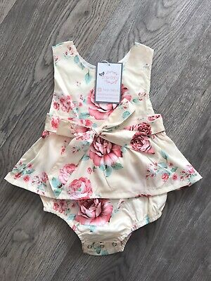 £12.99 • Buy Baby Girl Spanish Romper Dress Outfit Vintage Traditional Style Floral Bloomers