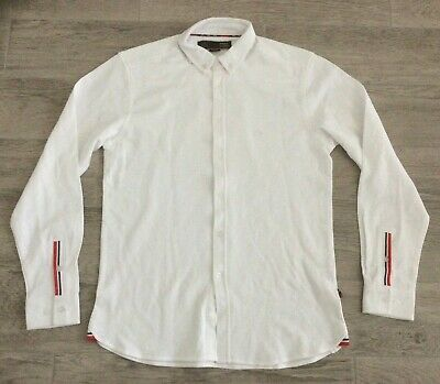 £20 • Buy Mens Merc London Long Sleeve Button Up Pk Shirt With Logo On Chest White M