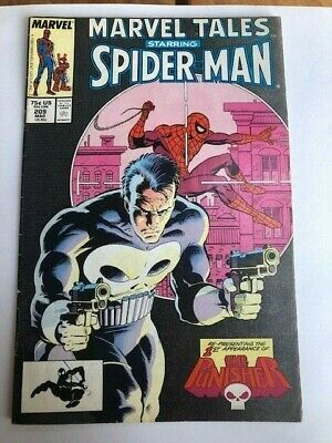 Marvel Tales STARRING SPIDER-MAN 1st App. The Punisher #209 March 1988 VF • 3.04£