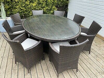 Oceans Large 8 Seater Rattan Garden Patio Or Conservatory Furniture • 260£