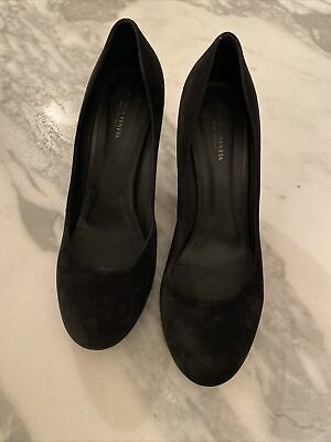 Bottega Veneta Designer Black Suede Curved Wedge Shoes EU 39 UK 6 • 69.99£