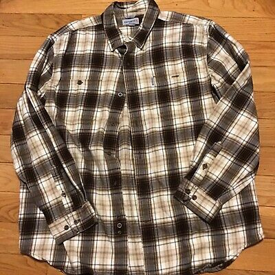 $30 • Buy Carhartt Mens Flannel Shirt Relaxed Fit XL Brown Plaid Long Sleeves