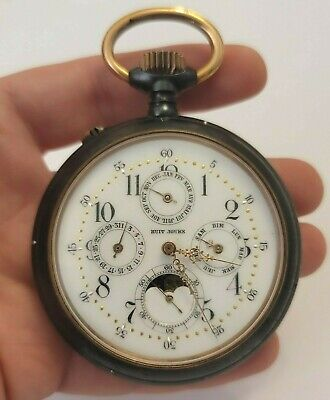 £709.85 • Buy Huge Antique Multi Dial Moon Phase Gunn Metal Pocket Watch (needs Attention)