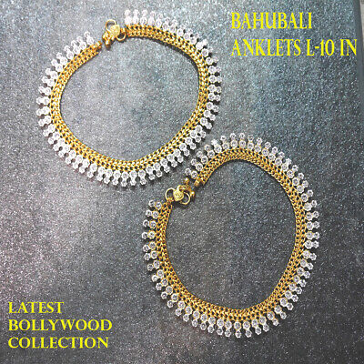 £14.99 • Buy  Traditional Bollywood SILVER WITH DIAMONDS Anklets Indian Payal Studded