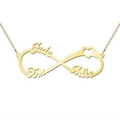 AU409 • Buy Three Name Infinity Necklace Solid Gold Personalised Made In Australia