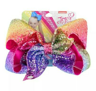 AU15.95 • Buy NEW! Jojo Siwa Bow Large 8  Sequin Bow Birthday Gift 💛💜💚💗❤💙 RAINBOW SEQUINS