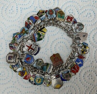 Vintage 43  Mixed Silver Travel Charm Bracelet Charms.66.2 Grams.1979 Marked. • 59.99£