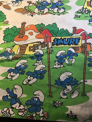 The Smurfs Twin Fitted & Bed Sheet Set By Lawtex Peyo Vintage 1980's • 12.91£