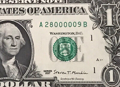 $5.50 • Buy Fancy Serial Number FIVE Of A KIND  0  $1 Dollar Bill 2017 (Boston) UNCIRCULATED