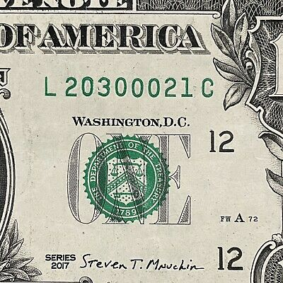 $5 • Buy 2017 $1 DOLLAR BILL FOUR OF A KIND 0s L20300021C CIRCULATED