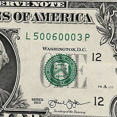 $5 • Buy 2013 $1 DOLLAR BILL FIVE OF A KIND 0s L50060003P CIRCULATED