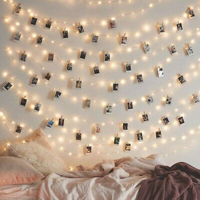 £5.75 • Buy 20/50/100 Photo Wall Hanging Peg Clips LED String Lights Home Party Fairy Decor