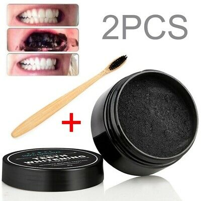 AU6.15 • Buy Activated Organic Charcoal Powder Teeth Whitening Stain Remover Toothpaste Brush