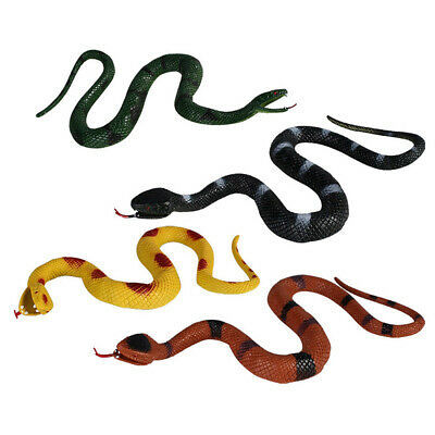 4 Pcs Realistic Rubber Toy Snake Fake Snakes Props Prank Party Halloween US • 13.84£