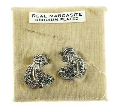 COSTUME JEWELLERY -  Vintage Marcasite Ear Clips - Rhodium Plated - 1960s • 4.99£