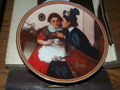 $ CDN3.77 • Buy Norman Rockwell Collectible PLATE's  Gossiping In The Alcove # 1765c2