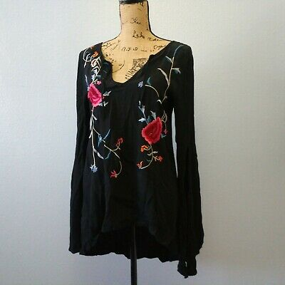 $ CDN31.23 • Buy Staring At Stars Anthropologie Women's Medium Black Floral Embroidery Blouse Top