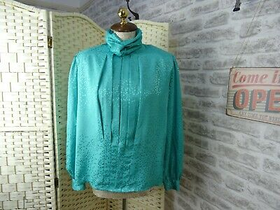 Vintage 80s Satin Shirt Blouse Silky Polyester Mint Green High Neck Top M/L T539 • 9.99£
