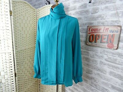 Vintage 80s Satin Shirt Blouse Silky Polyester Teal  High Neck Top S/M T395 • 9.99£