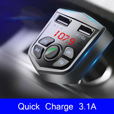 £8.99 • Buy Bluetooth FM Transmitter Car MP3 Player Radio Wireless Adapter Charger Kit 2 USB