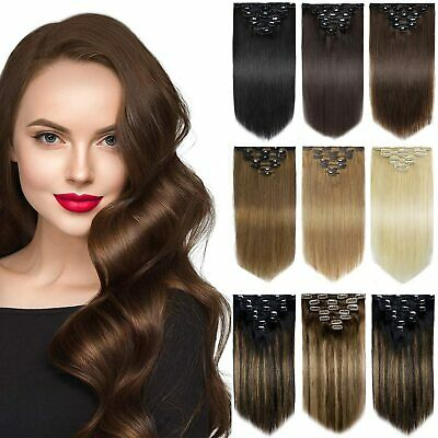 Impressive Hairstyle Clip In Russian Remy Human Hair Extensions 7Piecs16Clips-on • 15.85£