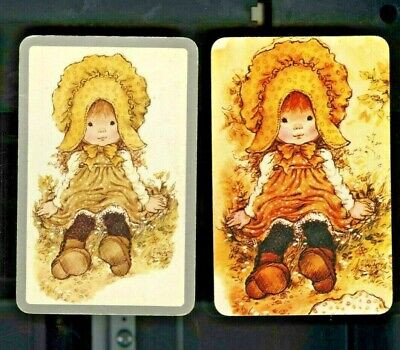AU6 • Buy Two Sarah Kay Swap Cards Cute Girl In Yellow Bonnet And Smock Seated