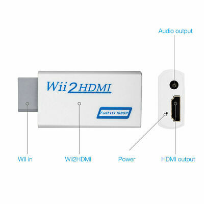 Wii Input To HDMI 1080P Audio Output Converter Adapter Cable 3.5mm White • 3.99£